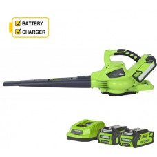 Greenworks GD40BV 40v Cordless Blower supplied 2 x battery & charger