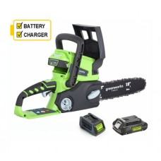 Greenworks G24CSK2 24V Chainsaw c/w battery and charger