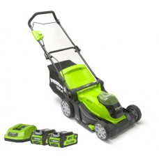 Greenworks G40LM41K2X Cordless 40v 40cm Mower c/w batteries and charger