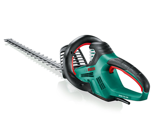 The Bosch AHS Range 70 34 mains electric hedge cutter has a high performance, powerful 700w mains motor for improved cutting power and blade speed (34