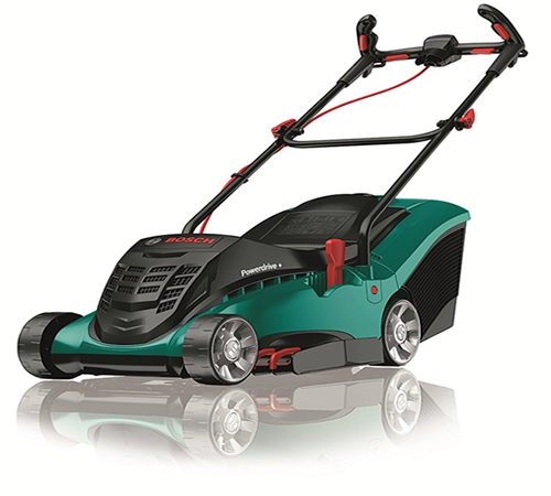 The Bosch Rotak 37 is a mains electric 1400w 4 wheel lawn mower with 37cm cutting width, 40 litre rear plastic grass collection box and Bosch Ergoflex