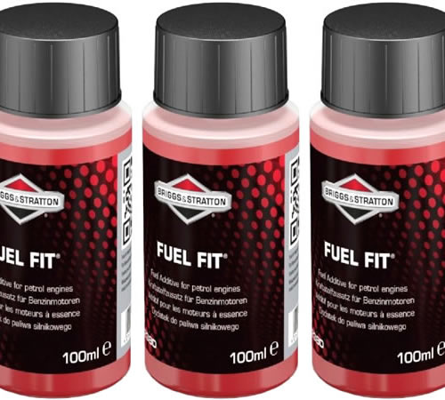 """Three 100ml Bottles Briggs & Stratton Fuel Fit Stabiliser 992380Use Briggs & Stratton Fuel Fit """"¢ fuel stabiliser products to help keep your fuel fit"""