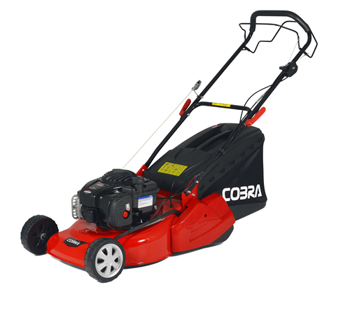 The Cobra RM46SPB is a self propelled petrol lawn mower with a full width rear roller for a classic striped finish. With a 46cm cutting width the Cobr