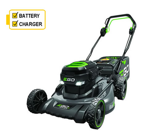 The EGO LM 2014E-SP cordless mower is self-propelled with a sturdy steel cutter deck, 50 cm cutting width and with the 6Ah battery fully charged can r