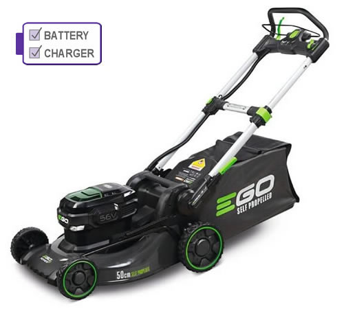 EGO Power + LM2021E-SP Self-Propelled Cordless Lawnmower c/w Battery and Charger
