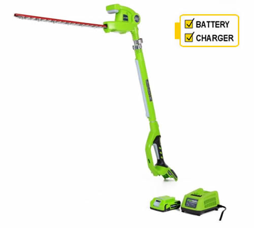 Greenworks G24PH51K2 24V Long Reach Hedgetrimmer c/w 2Ah Battery and Charger