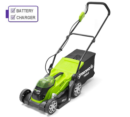 Greenworks G40LM35K2 40v Cordless mower c/w battery and charger