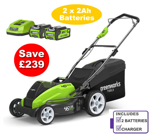 Click to view product details and reviews for Greenworks G40lm45k2x Cordless 40v 45cm Mower C W 2 X Batteries And Charger.