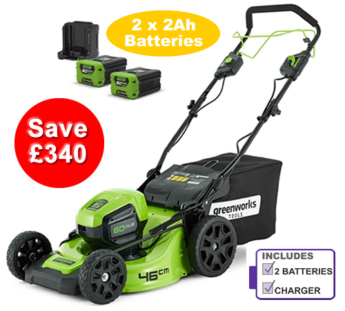 Greenworks GD60LM46SP 60v Self-Propelled Cordless Mower includes Battery and Charger