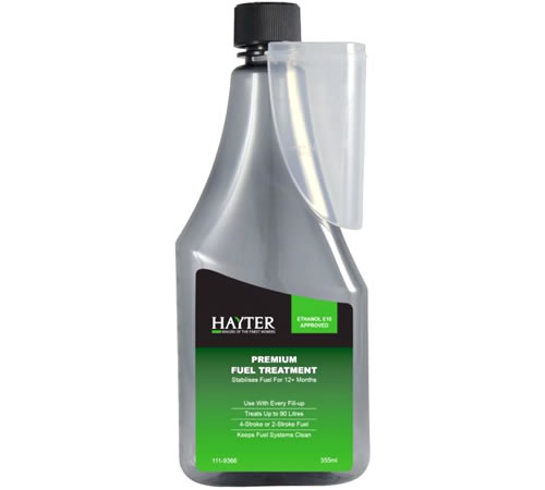 Hayter Fuel Stabiliser Premium Treatment 355ml 111-9366Helps ensure clean, reliable engine performance and protection against ethanol's harmful effect