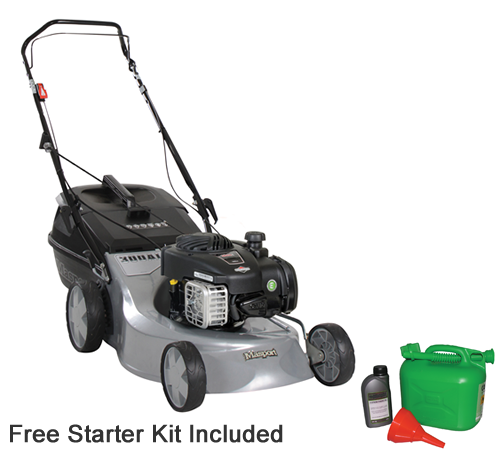 The Masport 300 AL is a hand propelled petrol rotary lawnmower. It has a Briggs and Stratton 125cc engine and a cutting width of 18