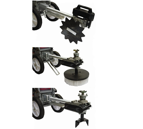 Set of three multi tool attachments for the Masport Home Gardener petrol front tine cultivator. Set includes a lawn aerator, lawn edger and surface cl