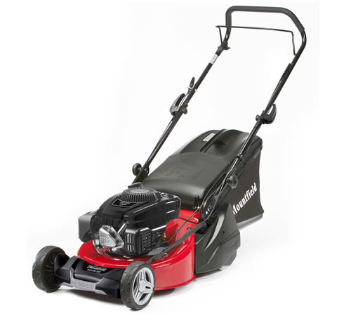 The Mountfield S421 R HP is a 41cm cut push rotary lawn mower with a 100cc engine and manual / pull start. This Mountfield rear roller lawnmower is ea