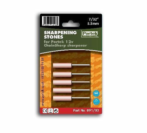 A 5 pack of replacement sharpening stones for the 12v Portek ChainSharp chainsaw sharpener. 7/32- (largest diameter stone) fits saw with 3/8- pitch ch