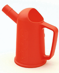 Orange plastic 500ml / 0. 5 litre measuring jug suitable for preparing fuel mixtures of up to 5 litres. Good for using with garden equipment including