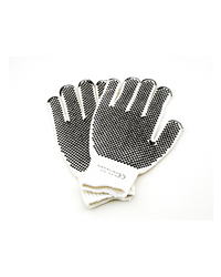 Hard wearing general purpose workplace gloves which are made from cow split leather and cotton. Made in one size only the gloves are resistant to fuel