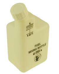 The easy, no mess way to measure your fuel mixtures for 2 stroke run engines. Solid plastic 2 stroke mixing bottle with 1:25, 1:32, 1:40 and 1:50 scal