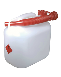 Light weight and durable five litre fuel container. As the fuel can is transparent you can see exactly how much fuel you have left. The plastic fuel c