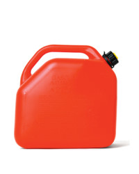 A quality fuel can with a stable base and locking fuel cap. Feature embossed safety instructions. Complete with flexible pouring spout.