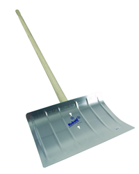 Robust 1300g weight aluminium snow clearing shovel with a 1350mm wooden handle and clearing width of 400mm (approx 16 inches). Features reinforcing fi