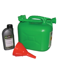 Petrol engined lawnmower starter kit consisting of a 5 litre green plastic fuel container, funnel with sieve and 600ml of SAE30 oil.