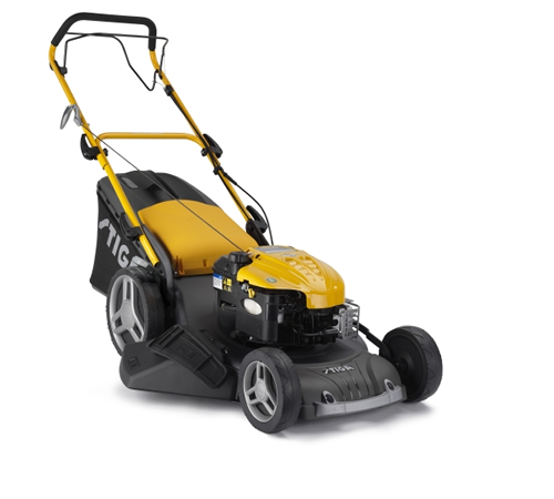 High quality petrol self-propelled 4 in 1 lawn mower from Stiga. The Stiga Combi 53 SQ B is a 51 cm cutting width rotary lawnmower with power drive to