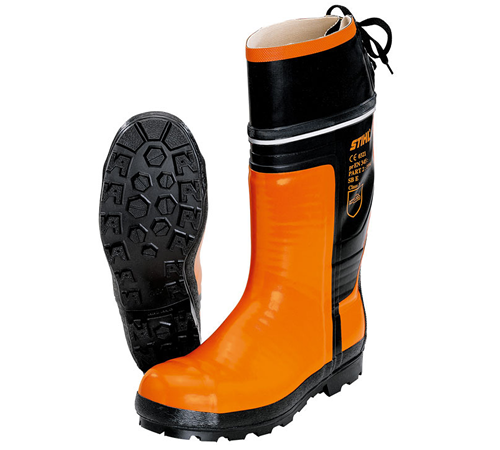 SPECIAL Chain saw rubber boots. EN ISO 17249a, Class 3 (corresponds to 28 m/s), for chainsaw operators, laced rear leg, reflective band, suitable for