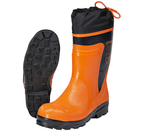 STANDARD Chain saw rubber boots. EN ISO 17249, Class 1 (corresponds to 20 m/s), for chain saw operators, roughtread soles with good ventilation and ad