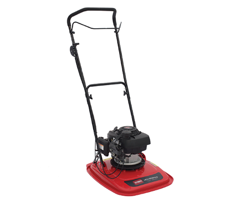 Toro HoverPro 450 18 inch petrol hover mower. The HoverPro 450 has an 18 inch cutting width, uses nylon line and is powered by a 160cc Honda petrol en