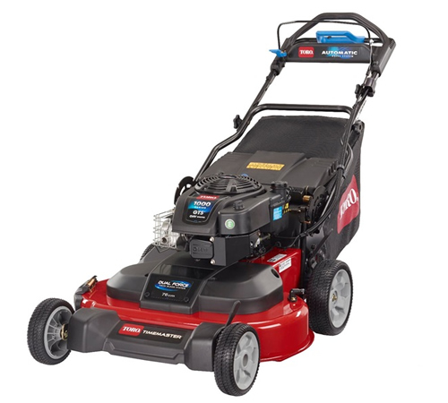 Toro 20976 large scale 3 in 1 petrol self propelled lawnmower. The Toro Timemaster 20976 has an incredible 76cm cutting width, automatic drive system,