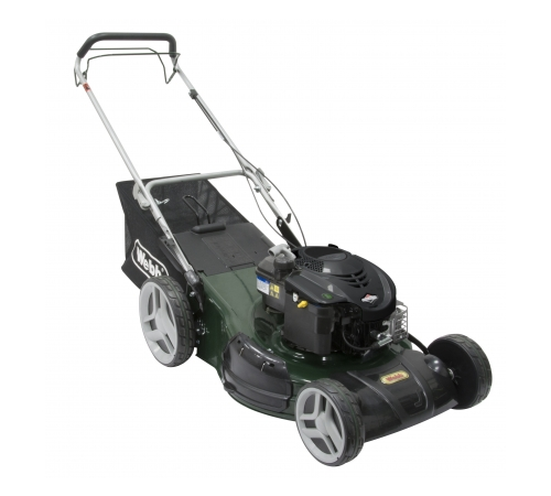 The Webb Elite R51 SPHW is a 4 wheeled lawn mower with alarge 51cm cutting width, Briggs and Stratton engine and 4 cutting functionscut & collect, rea