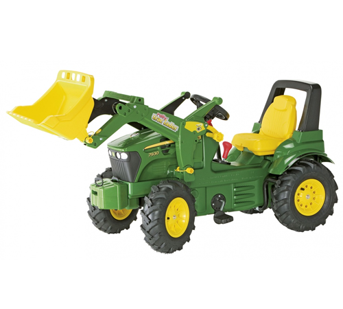 This John Deere 7930 Toy Tractor comes complete with a quick remove system front loader and tipping digger bucket. In authentic John Deere green and y