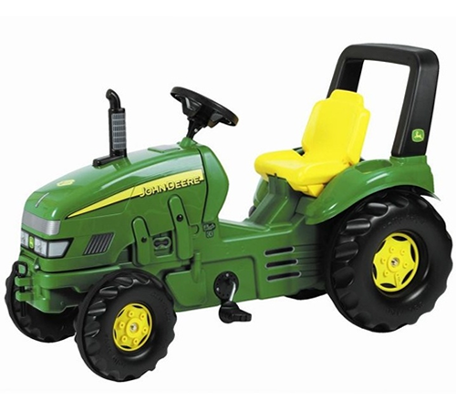 The John Deere X Trac larger pedal tractor has a 3 position sliding adjustable seat and front opening bonnet. In authentic John Deere green and yellow